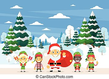 Santa Clause Christmas Elf Cartoon Character Winter Forest...