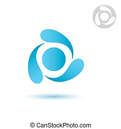 Water cycle icon on white background, three drops, 2d...