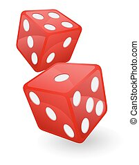 red casino dice vector illustration isolated on white...