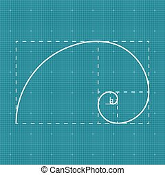 Golden section on grid paper, 2d golden ratio, project...