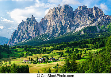 Aalpine village and beautiful mountains, Italy - Amazing...