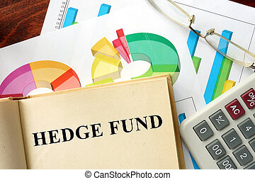 hedge fund - Words hedge fund written on a book. Business...