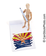 Wooden mannequin made a drawing - Arizona - Wooden mannequin...