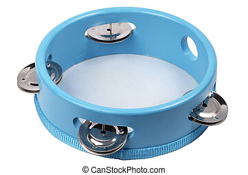 Tambourine - Blue wooden tambourine isolated over white...