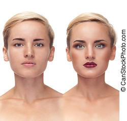 Girl with and without make up before after concept Studio...