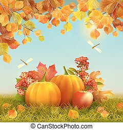 Vector Autumn Thanksgiving Card - Autumn vector Thanksgiving...