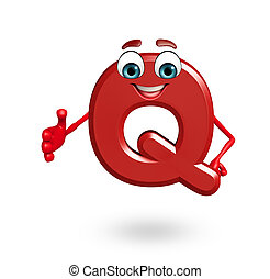 Cartoon Character of alphabet Q - 3d rendered illustration...