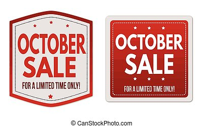 October sale stickers set