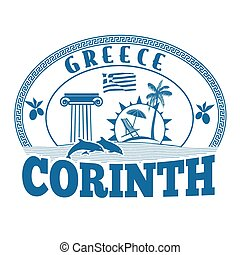 Corinth, Greece stamp or label on white background, vector...