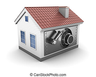 house safe - abstract 3d illustration of house with safe...