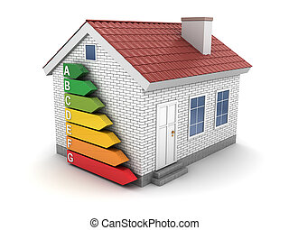 energy efficient house - 3d illustration of house and energy...