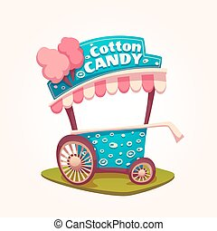 Vector flat illustration of Cotton Candy cart.