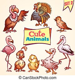 Vector set of cute birds. Turkey, goose, flamingo and etc. -...