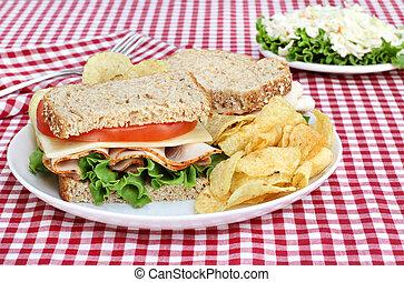Healthy Turkey Sandwich on Whole Grain Bread