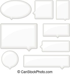 Glossy Word Bubbles Set - Set of glossy white word bubbles...