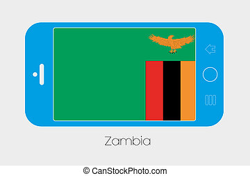 Mobile Phone with the Flag of Zambia