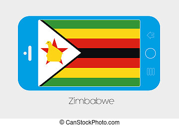 Mobile Phone with the Flag of Zimbabwe