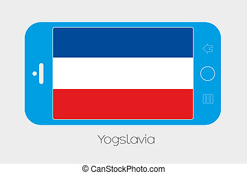 Mobile Phone with the Flag of Yugoslavia