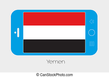 Mobile Phone with the Flag of Yemen