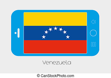 Mobile Phone with the Flag of Venezuela