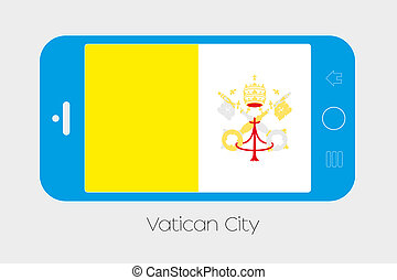 Mobile Phone with the Flag of Vatican