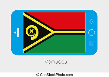 Mobile Phone with the Flag of Vanuatu