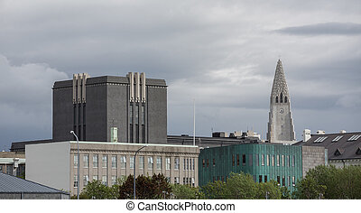 Skyline in Reykjavik with Hallgrimskirkja Cathedral, Iceland...