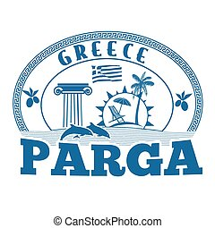 Parga, Greece stamp or label