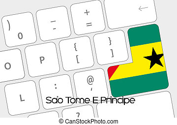 Keyboard with the Enter button being the Flag of Sao Tome E...