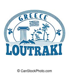 Loutraki, Greece stamp or label