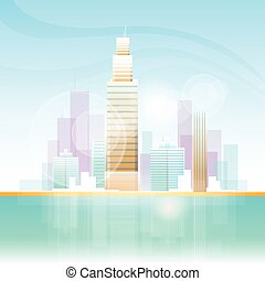 City Skyscraper View Cityscape Background Skyline Flat...