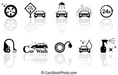 car wash isolated objects set - black silhouetteicons with...