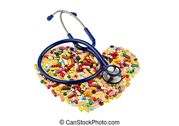 stethoscope and pills in heart shaped arrangement, symbol...