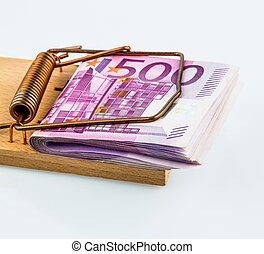 euro notes in mousetrap - many euro banknotes in a mousetrap...