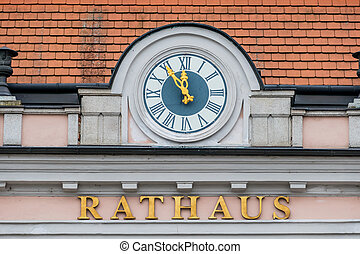 clock on the facade, symbol of an empty treasury in...