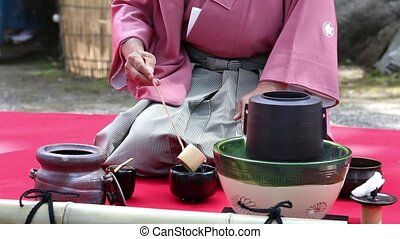 Japanese green tea ceremony - KAGAWA, JAPAN - SEPTEMBER 23,...