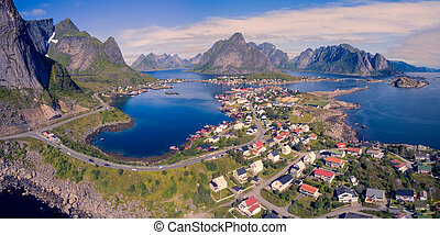 Reine on Lofoten - Aerial panorama of picturesque fishing...