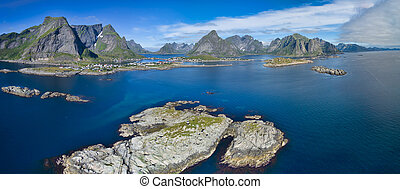 Reine in Norway - Aerial panorama of picturesque fishing...