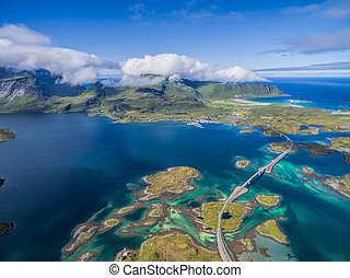 Bridges on Lofoten from air