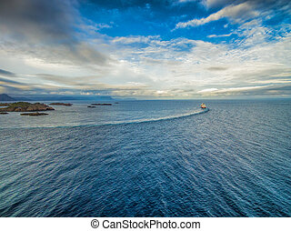 Norway coast with Hurtigruten - Aerial view of Hurtigruten...