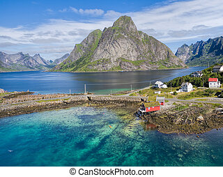 Rorbu in Reine - Picturesque aerial view of fishing port...