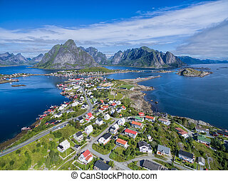 Reine - Picturesque fishing town Reine on Lofoten islands in...