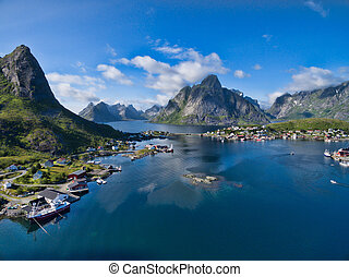 Reine - Scenic aerial view of fishing town Reine on Lofoten...