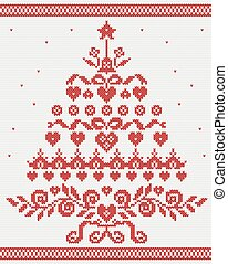 Christmas Ukrainian ornament red tree vector seamless texture