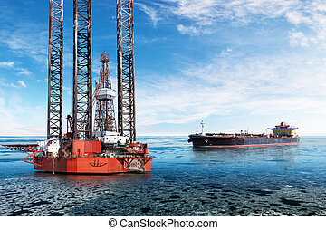 Oil industry - Oil Rig and tanker on offshore area at...