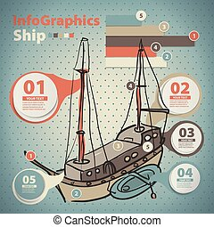 Infographics set in the style of a sketch of the Yacht in...