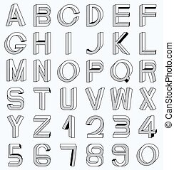 Impossible font set, including numerals Raster dots pattern...