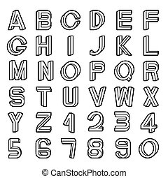 Impossible font set, including numerals, black outlines