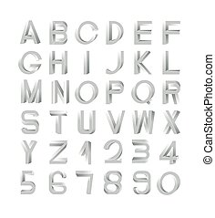 Impossible font set, including numerals. Silver gradients...