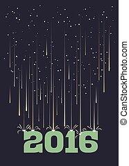 Meteor shower falling on 2016 in portrait format